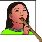 Detail uit het logo: 'Kind en Muziek': blokfluitist