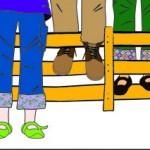 Detail uit het logo: 'Kind en Muziek': schoenen en hek