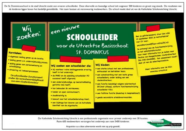 Vacature voor de Katholieke Scholenstichting Utrecht